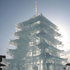The Japanese styling of this two-story ice castle paid homage to the Asahikawa festival, where it was on display. | Photo: SteFou!/Flickr | thisoldhouse.com