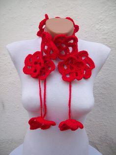 SALE  20  Was 25 Now 20  Hand crochet Lariat Scarf Red by nurlu, $20.00