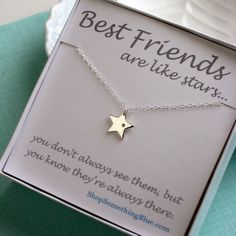 Diamond  Star Necklace, Genuine Diamond and Star Charm, Lucky Star, Best Friend Gift, Sterling Silver, Sentiment Card