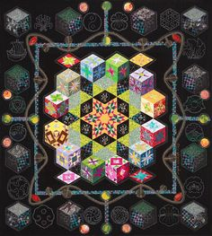 """Rumple About"" by Ingrid Wilhoft: machine quilted pieces at the La Conner Quilt & Textile Museum"