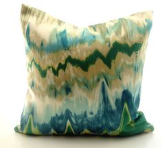 Silk ikat decorative pillow cover / zigzag waves/ by lajoyade, $50.00