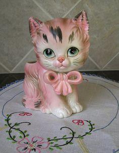 Adorable Vintage Lefton Figural Planter  Pink by KelleysKottage
