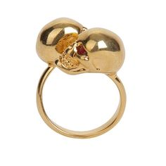 antique gold twin skull ring by mc queen