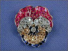 pansy brooch brooches, oscar heyman, fine jewel, pansi brooch, white, pansies, yellow diamonds