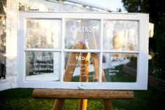 DIY inspiration. A repurposed window becomes the drink list at this Ontario wedding.   Style Me Pretty