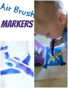 Air Brush Markers and Stencils. Great for sensory play! #SPD