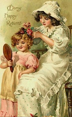vintage postcards, vintag postcard, vintage illustrations, mother, birthday greetings