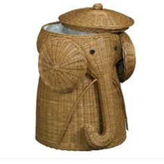 An adorable elephant laundry hamper -- perfect for a kids' room or nursery! #storage #organization