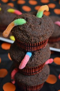 For the Love of Dessert: Dirt Cupcakes filled w/ Chocolate Mousse