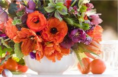flower arrang, bouquet, orang, centerpiec, color, french tangerin, garden, monkey, floral