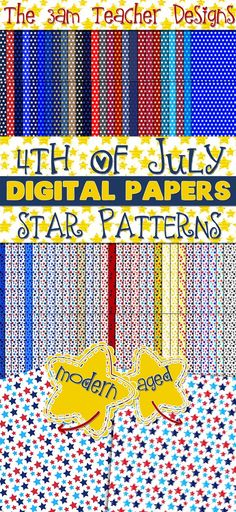 4th of July Themed Digital Background Papers - Over 100 graphics by The 3AM Teacher $
