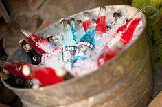 jones sodas, buckets, birthday parties, summer drinks, vintage, 4th of july, 4th juli, parti idea, drink stations