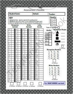 Assessment Sheet for Letters, Sounds, Blends, Numbers, and Shapes from cindysweeneysclass on TeachersNotebook.com -  (2 pages)  - Use this sheet to keep track of student progress and share with parents to show growth over time.  Quick, easy, simple.  Hope you like it.