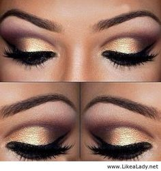 Gold eye makeup- like the colors just needs to be blended more