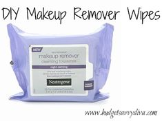 DIY makeup remover wipes    Cut a roll of paper towels in half and place in a container. Soak in 4 cups of warm water and 1-2 tablespoon coconut oil.