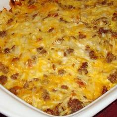 This is the Amish Breakfast Casserole and it is amazing!  I added 3 more eggs because I had medium sized eggs. It was delicious- there wasn't a single bit left of it.