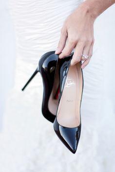 Wedding day Loubis. christians, fashion, style, black white, pump, black heels, christian louboutin, shoe, christianlouboutin