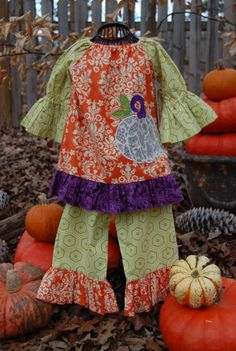 LaJenns Fall Pumpkin Outfit children cloth, fun cloth, fall pumpkins, appliqu idea, sew whimsi, fall sew, kids applique outfits, pumpkin outfit