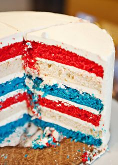 Flag Cake recipe - This cake does entail a lot of bowls.  And a LOT of butter in the frosting.  But it pretty simple to make.  Nothing makes me feel more domestic than baking a cake.  This cake in particular gave me joy.  It is bright and cheerful and fun.  So fun.  I got giddy when I watched it being cut.  So make this for your next holiday party and I promise, you will impress your friends. #cake #holiday #fourthofjuly #patriotic #red #white #blue #holiday