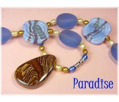 "Periwinkle Paradise ~ Australia Black Opal Pendant ~ Art Glass Lampwork, Sea Glass, Sterling Silver, & Pearl Bead 28"" Necklace ~FREE SHIPPING $139   www.FindMeTreasure.com"
