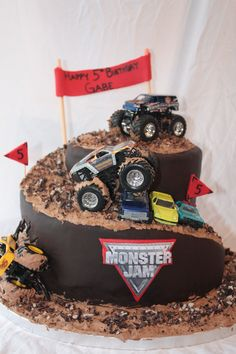 My son wanted monster trucks and mud, so here it is. Vanilla cake with chocolate cream cheese frosting and chocolate chips. (brcakes@hotmail.com)