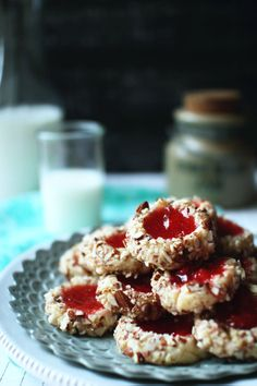 Strawberry Almond Thumbprint Cookies