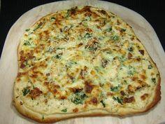 Chicken Alfredo, Spinach and Bacon Pizza