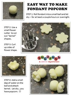 Easy way to make fondant popcorn.  (: