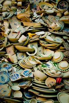 Idea- mosaic made of broken china for kitchen