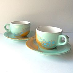 handpainted espresso cup in turquoise and gold - one of a kind