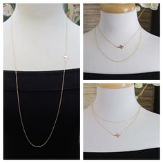 34 OFFSET Sideways Cross Necklace Long Layered by gemsinvogue, $38.00