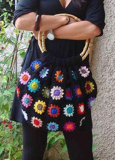 granny squared bag #crochet