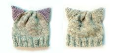 kitty hats - front and back I like this one for charity knitting