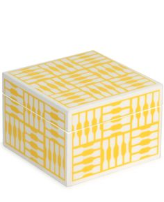 geo lacquer box in yellow