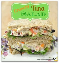 Crunchy Tuna Salad Sandwich - a great way to add more vegetables to your diet!  Delicious and satisfying!  Get the recipe at www.tootsweet4two.com.
