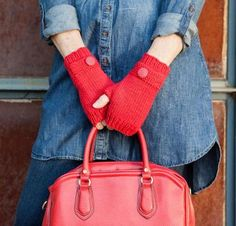Pocket Fingerless Mitts Kit - Knitting Kit includes Yarn & Pattern! - Shop Craftsy's premiere assortment of knitting supplies and save! Get the Pocket Fingerless Mitts Kit before it sells out. - via @Craftsy