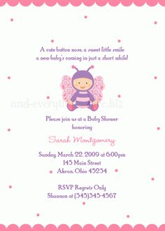 Baby Girl Butterfly Baby Shower Invitation