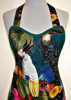 Apron Birds in Paradise Exotic Jungle Designer by ClassyCookAprons, $33.50 A Boo Apron