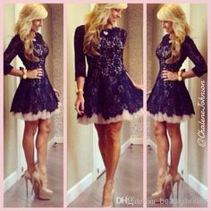 Mini Length Short Gowns Lace Dresses With 3/4 Long Sleeves