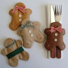 Gingerbread napkin rings inspired by Tilda by paninohome on Etsy, $21.00