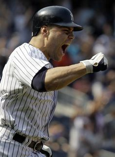GAME 59: Sunday, June 10, 2012 - New York Yankees' Russell Martin reacts after hitting a game-winning walk-off home run in the Yankees' 5-4 victory over the New York Mets in a baseball game at Yankee Stadium in New York. (AP Photo/Kathy Willens)