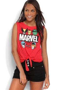 Deb Shops #Marvel Comic Tank Top with Tie Front $14.25