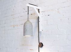 Hanging wall lamp, with threaded cord and wall switch(?)