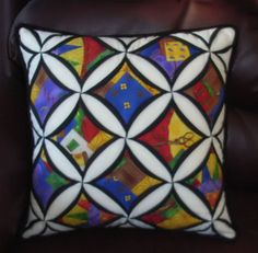 love the colors color, cathedr window, window quilt, window pillow, cathedral windows