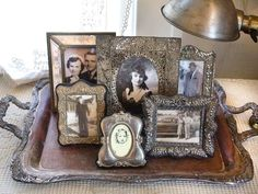 display old photos on an antique silver tray