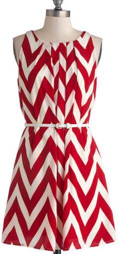 #Red & #white chevron print dress http://rstyle.me/n/dd6eynyg6