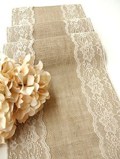Burlap table runner wedding table runner with country cream vintage inspired lace rustic chic , handmade in the USA
