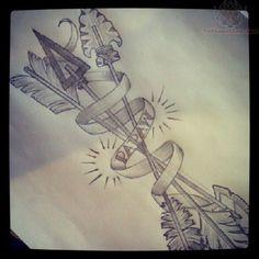 arrows, detailed arrow tattoo, craigredl, tattoos, art, banner tattoo design, feather arrow, ink, banners