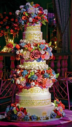 Colorful Garden of Flowers and Hand Painted Cake