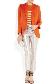 orange blazer and orange sweater